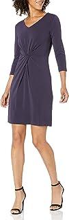Marca Amazon - Lark & Ro – Vestido de tejido crepé con manga tres cuartos y pinza en el centro para mujer