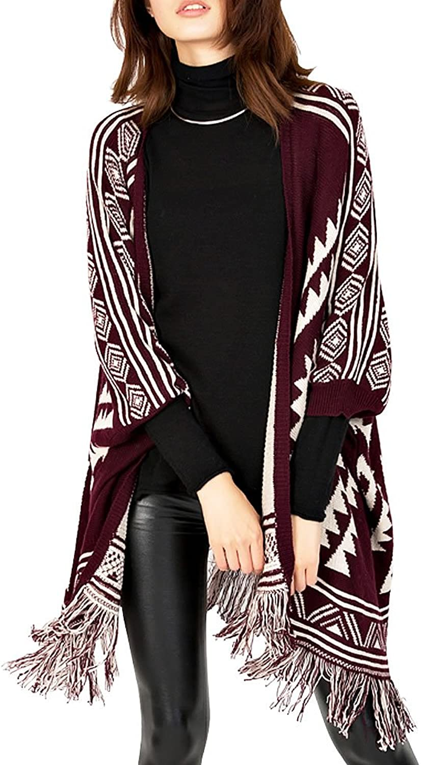 DELUXSEY Womens Poncho Sweater with Sleeves Aztec Cardigan Sweater Batwing Cape
