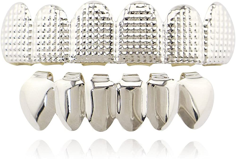 OOCC 18k Gold Plated Grills Hip Hop Teeth Grillz Caps Top and Bottom Set for Your Teeth