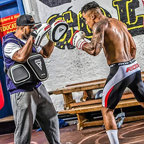 RDX Cowhide Leather Boxing Hook & Jab Pads MMA Strike Shield Thai Kick Focus Punching Mitts Target Training, White