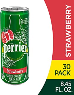 Perrier Strawberry Flavored Carbonated Mineral Water, 8.45 Fl Oz (30 Pack) Slim Cans
