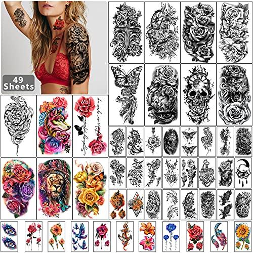49 hojas de tatuaje temporal a prueba de agua de media manga negra para hombres y mujeres adultos, pegatinas de tatuajes falsos de animales con flores en 3D para niñas adolescentes