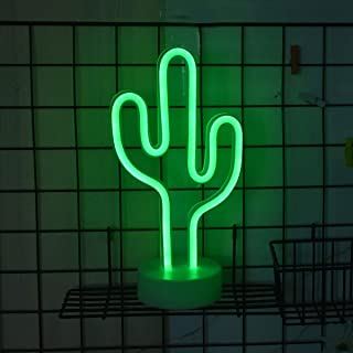 Oycbuzo Cactus Neon Signs Neon Lights with Holder Base Decor Light,LED Cactus Sign Shaped Decor Light,Marquee Signs/Wall Decor for Luau Summer Party Table Decoration Children Kids Gifts