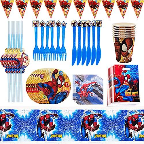 Nesloonp Suministros Vajilla de Fiesta Set, Juego Vajilla Fiesta Cumpleaños, Kit de Decoraciones de Cumpleaños de Spiderman, Suministros de Fiesta Temáticos de Superhéroes