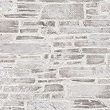 Papier peint pierre grise & blanche | Papier peint gris et blanc 36459-3 |...