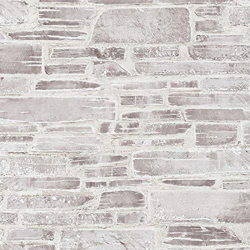 Graue & weiße Steintapete | Graue und weiße Tapete 36459-3 | Vintage Steinmauer Tapete | Leichte Büro Schlafzimmer Tapete