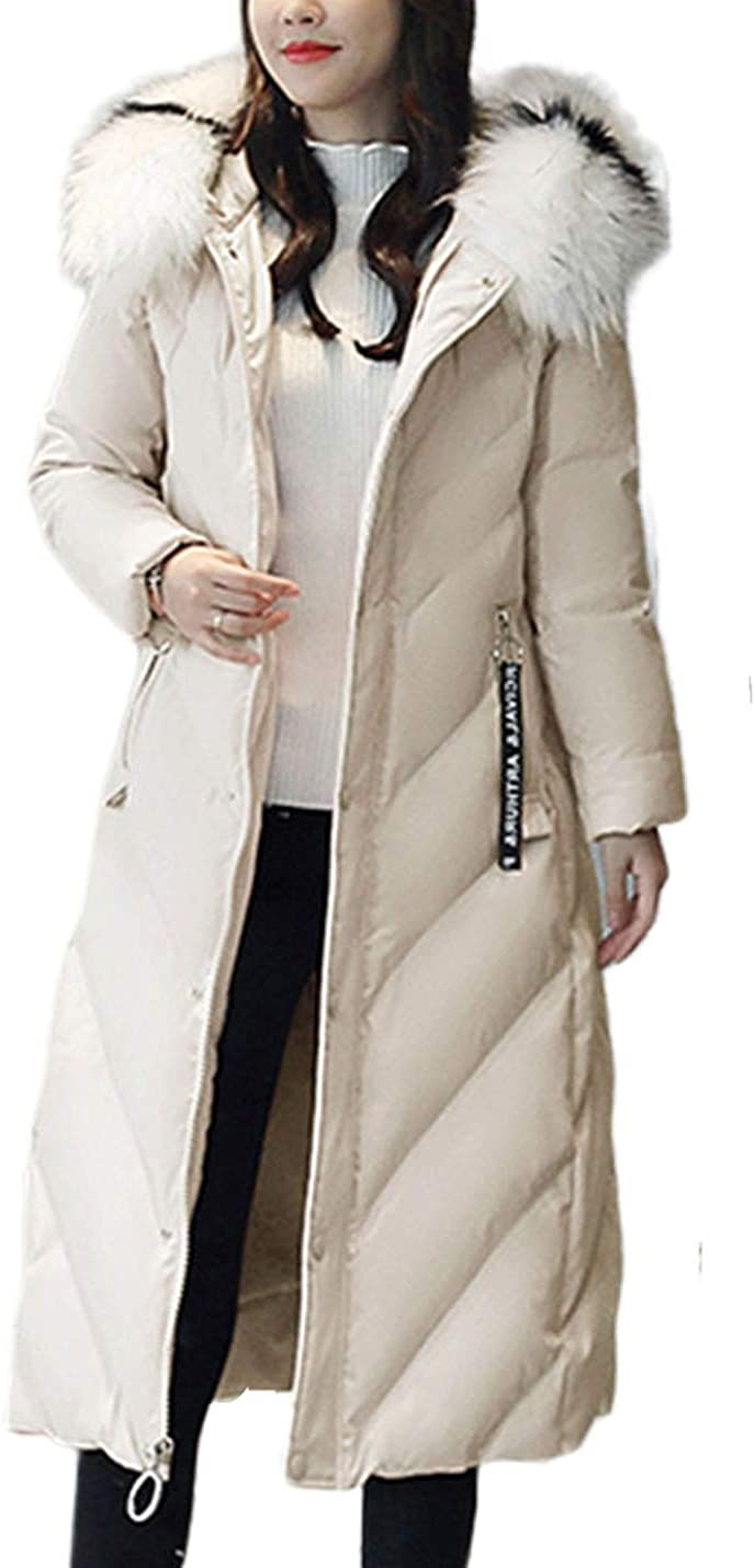 Uaneo Women's Mid Long Thicken Warm Slim Quilted Puffy Hoody Winter Coat Jacket(Beige-XS)
