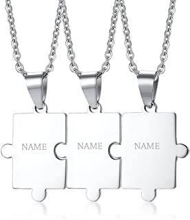 Personalized Customized Stainless Steel Matching Puzzle Piece Charm Friendship BFF Puzzle Necklace for 2,3,4