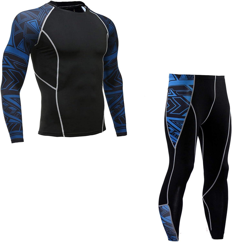 Men Underwear 2 Piece Sports Suit Men's Compression Leggings Quick Dry T-Shirt Set