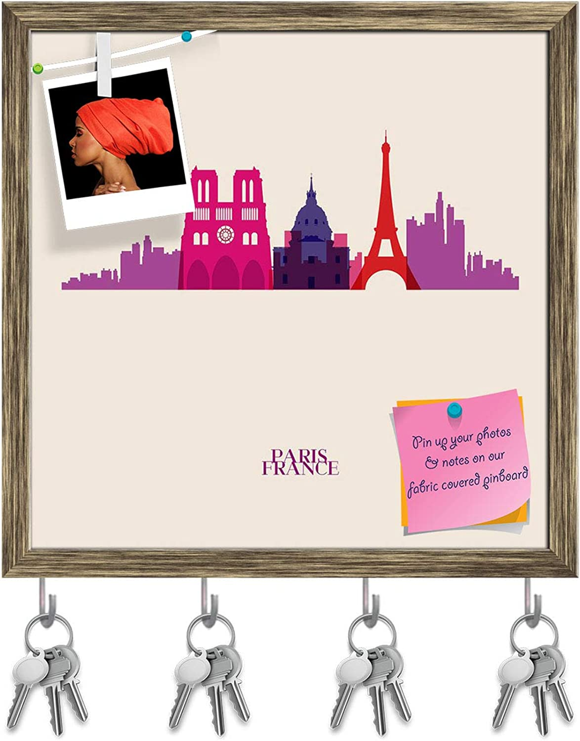 Artzfolio Silhouettes of Paris City, France Key Holder Hooks   Notice Pin Board   Antique golden Frame 20 X 20Inch