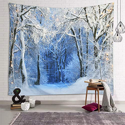 Sevendec Christmas Tapestry Wall Hanging Nature White Forest Snow Wall Tapestry for Party Livingroom Bedroom Dorm Home Decor W90' x L71'