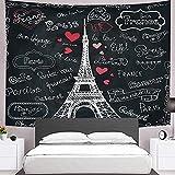 Tapiz De Pared Blanco Y Negro Francia París Torre Eiffel Tapiz Colgante De Pared Decoración Artística Impresión De Tela Tapices Murales Para Dormitorio Sala De Estar,40' x 30' (100×75 cm)
