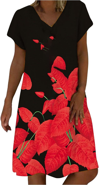 Sun Dresses Women Summer Women's Casual Fashion V-Neck Botanical Floral Print Short Sleeve Dress Casual Sexy Boho