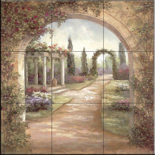 Ceramic Tile Mural - Giardino Archway - da Vivian Bowles - splashback Cucina / doccia Bagno
