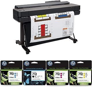 "HP DesignJet T650 Large Format Printer, 36"" Color Inkjet Plotter, Wireless, Bundle 712 3X 29ml Cyan/ 3X 712 29ml Magenta 3..."