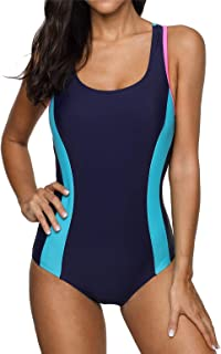 Women's Color Block Athletic One-Piece Swimsuits Bathing Suit