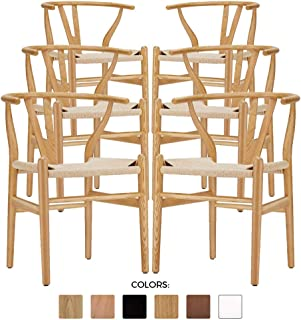 Wishbone Chair - Wooden Dining Chair - Mid Century Style - Inspired by Hans Wegner (6, American Ash)