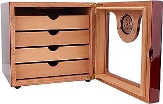 logozoee Cigarrlåda, 4 lådor lyxig cederträ cigarrlåda, inbyggd hygrometer stor kapacitet för reseanvändning män, pappargåvor