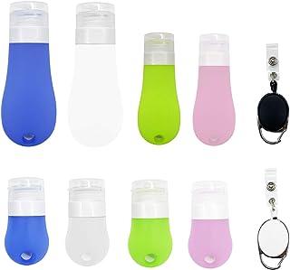 Alpurple 6 Packs Portable Silicone Travel Bottles Set-3 Size Leak Proof Empty Bottles with Stretchable Lanyard -Empty Hand...