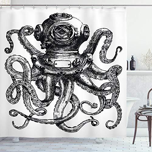 Ambesonne Rideau de douche en forme de pieuvre - Style vintage - Avec crochets - 190 cm de long - Gris anthracite et blanc