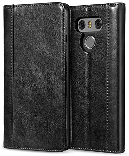 ProCase LG G6 Genuine Leather Case, Vintage Wallet Folding Flip Case with Kickstand and Multiple Card Slots Magnetic Closure Protective Cover for LG G6 2017 -Black