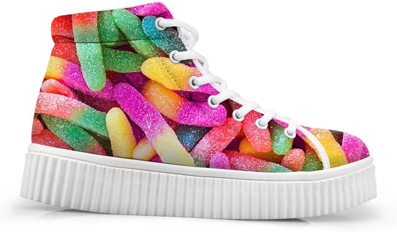 Mumeson Donuts Print Women's High-Top Sneaker Lightweight Platform shoes
