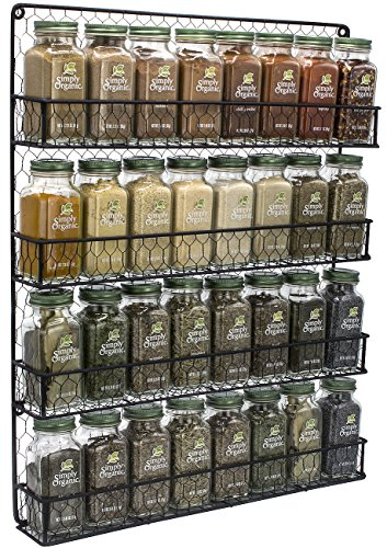 Sorbus Spice Rack Organizer 4 Tier Country Rustic Chicken Herb Holder Wall Mounted Storage Rack Great for Storing Spices Household Items and More Black