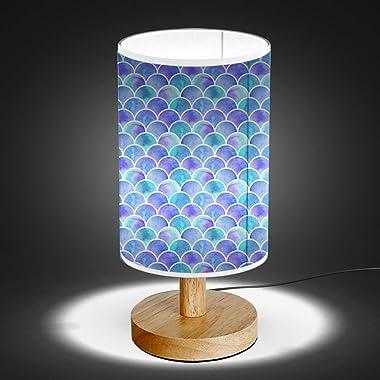 ARTSYLAMP - Wood Base Decoration Desk Table Bedside Light Lamp [ Watercolor Rainbow Scales Mermaid ]