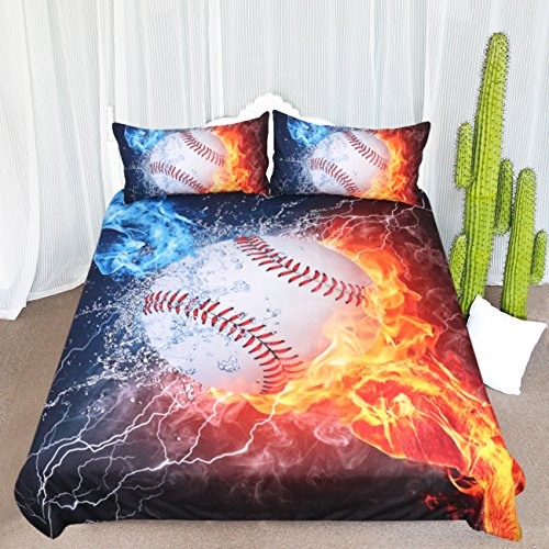 ARIGHTEX Baseball Fist Bedding Set Ball on Fire and Ice Duvet Cover Kids Bedspreads Boys Sports Bedding Spread (Pattern 1, Full)