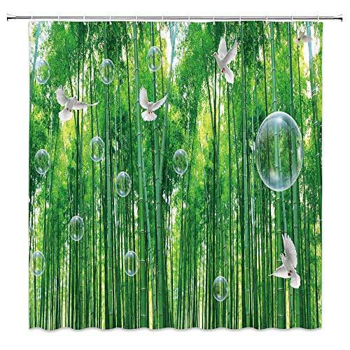 NJMRZX Grüner Bambus Duschvorhang Wald weiße Tauben Blasen Natur Landschaft Dekor Stoff Badezimmer Gardinen Wasserdicht Polyester mit Haken 183 x 183 cm