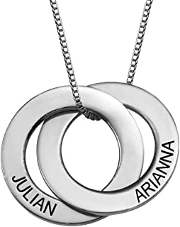 Russian Ring Necklace in Sterling Silver with Engraving - Personalized & Custom Pendant Gift for her