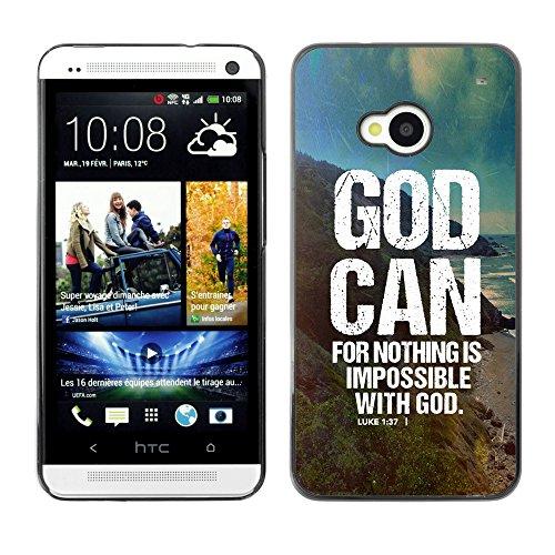 DREAMCASE (NICHT HTC ONE MINI M4) Bibelzitate Bild Hart Handy Schutzhülle Schutz Schale Case Cover Etui für HTC ONE M7 - Gott kann - Lukas 1.37