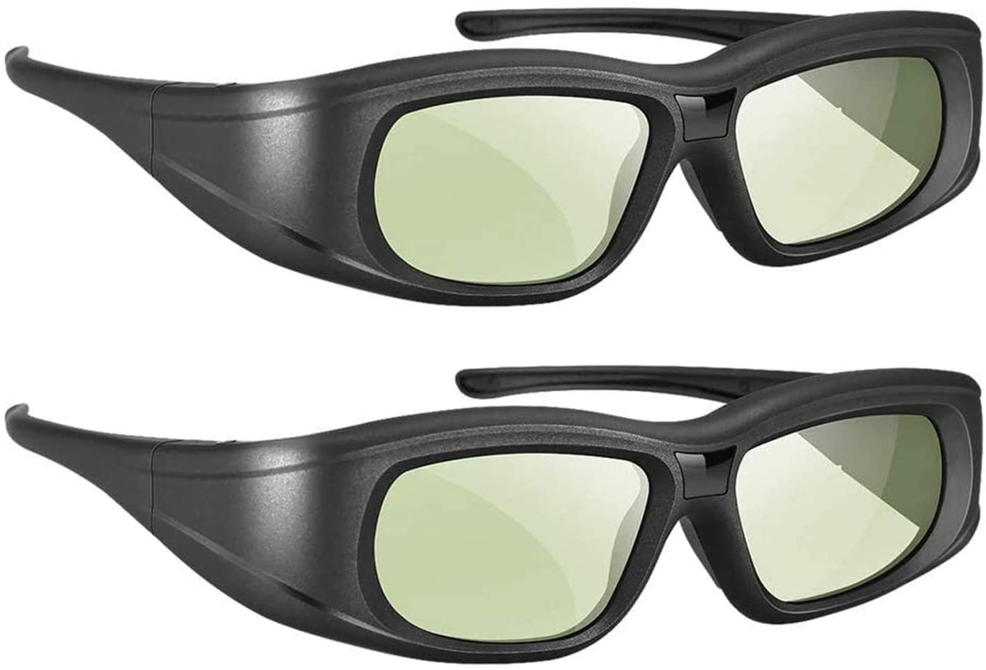 3D Glasses 2 Pack, Rechargeable Active Shutter 3D Glasses Compatible with Epson Sony LCD Projector/Sony Panasonic Samsung 3D Active TV