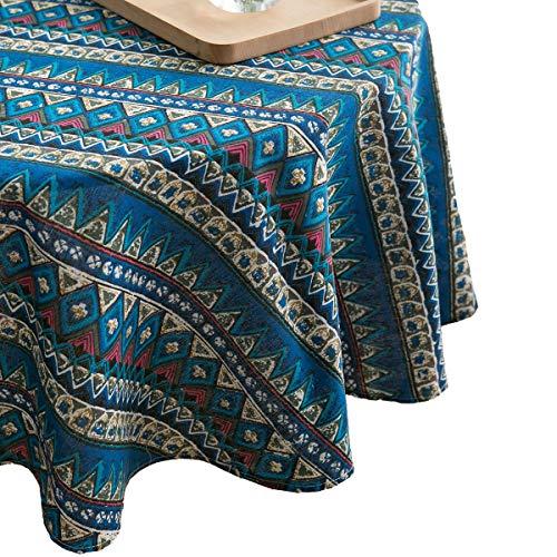 Geometrische Blaudruck Tischdecken Modern FüR Runden Baumwolle Leinen Ethnischen Wind Dekor WohnküChe,Blue,150cm