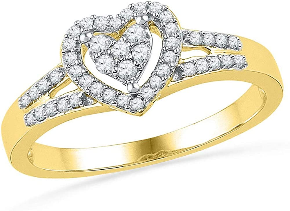 The Diamond Deal 10kt Yellow Rin sale Weekly update Round Gold Womens Heart