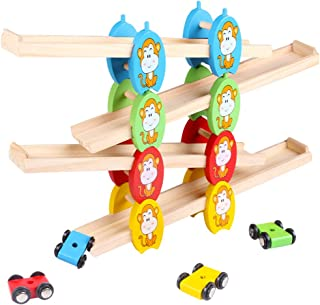 YeahiBaby Wooden Car Ramp Toy Zig Zag Car Slider Click Clack Race Track