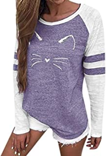 Best color block cat print sweatshirt Reviews