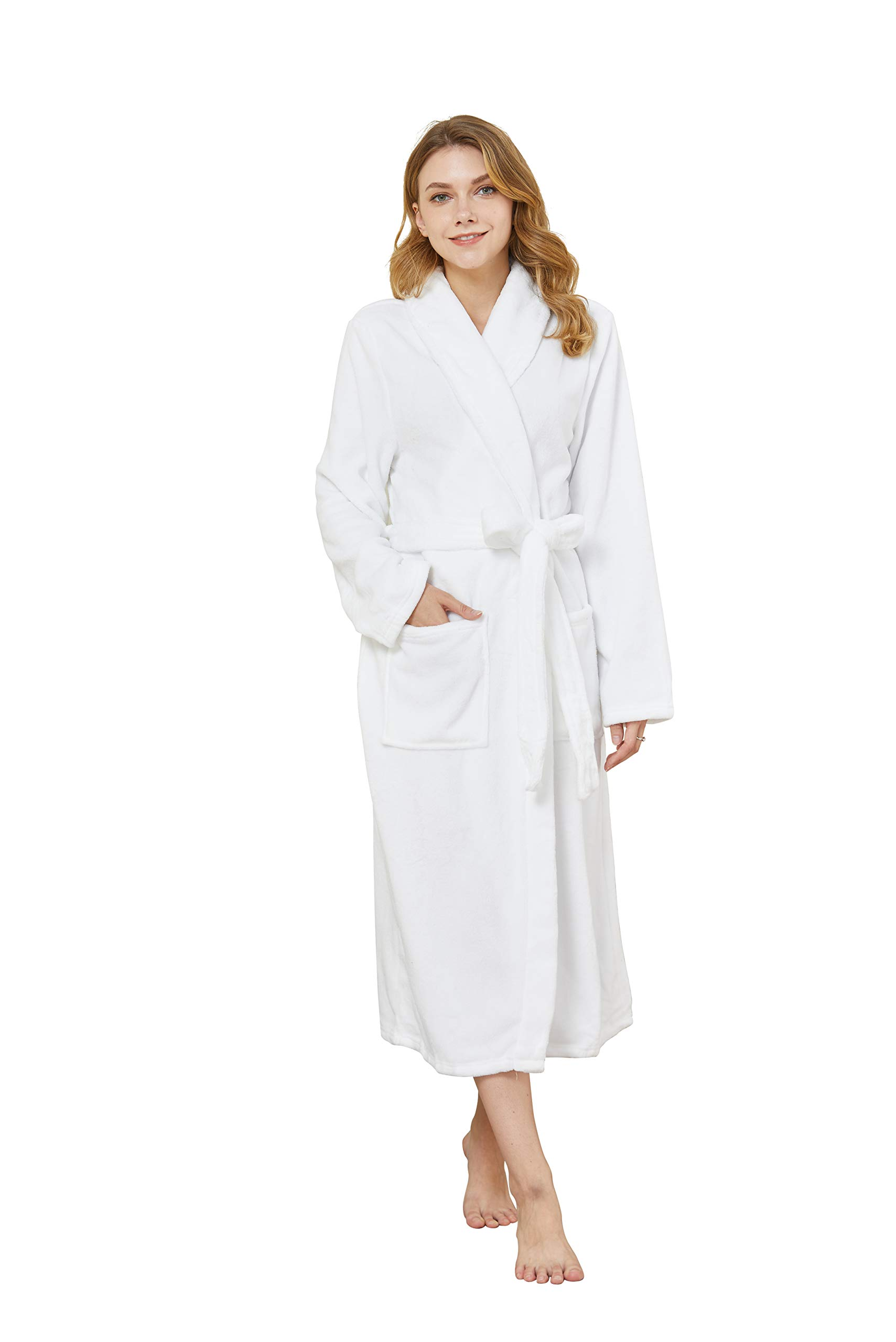 Image of Cozy Fleece White Bath Robe for Women - Available in Blue