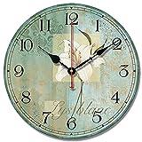 S.W.H Shabby Chic Lily redondo Loving habitación dormitorio Shop Decor Reloj de pared 12 pulgadas