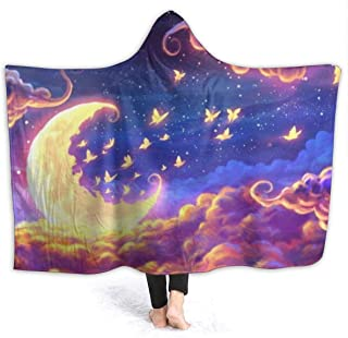 Dreamscape Flannel Wearable Blanket Robe Wrap Ultra Soft Throw Indoors or Outdoors Hooded Blanket