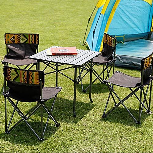Tragbarer Campingtisch Mit Roll-Up Tabelle Oben Wasserfester Aluminium Falten Tabelle Zum Picknick Strand Grill Kochen 5PCS (Farbe : Grün)
