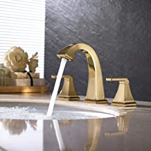 KES 8-Inch Widespread Bathroom Faucet Two Handle 3 Hole Sink Faucet Set Lead Free Brass with Supply Hoses and Drain Assembly Polished Brass Finish, L4315LF-PG