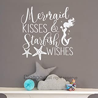 Mermaid Kisses and Starfish Wishes Wall Decal Quote Mermaid Wall Decal Nautical Nursery Decor Girls Bedroom Decals (White,16