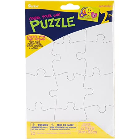 Darice PUZ100 12-Piece Puzzle to Color Set, 51/2 by 8-Inch, 1 Pack, White