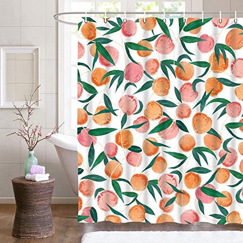YULUOSHA Duschvorhang Sets Pfirsich Polyester Wasserdicht Waschbarer Anti-Schimmel Duschvorhang Badezimmer Dekor mit Haken für die Dusche 180 x 180 cm
