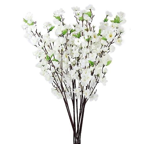 OULII Artificiel Mirabelle Peach Blossom Spray branche fleurs en soie arbre - 10 pièces