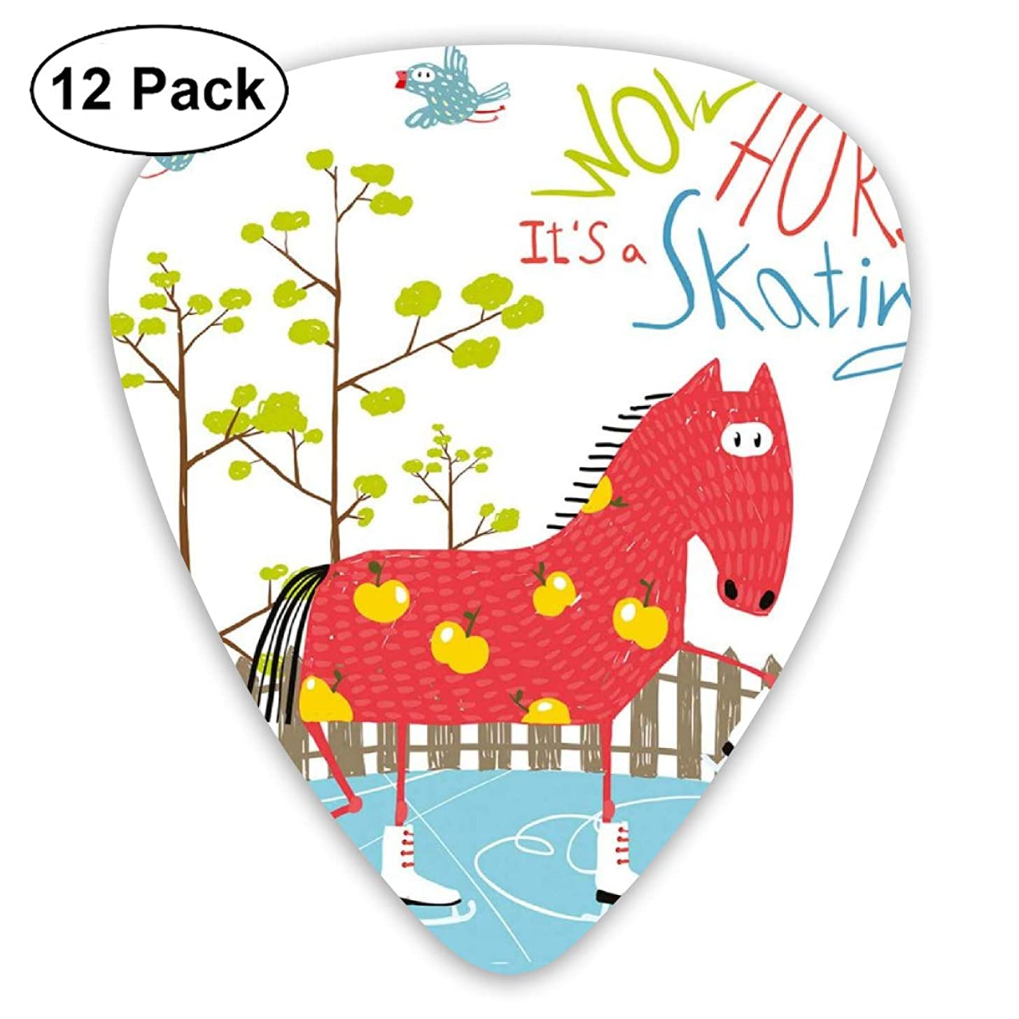 Celluloid Guitar Picks - 12 Pack,Abstract Art Colorful Designs,Wow Its Skating Horse On Ice Amusing Colorful Cartoon Tree Birds Pattern Winter,For Bass Electric & Acoustic Guitars.
