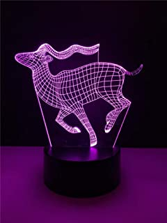 إضاءة ليلية محيطة بضوء LED LED على شكل حيوان غزال بمصباح LED متعدد الألوان مزود بمصباح LED لتزيين لوميناريا لتزيين المنزل