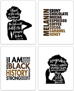 HUYAW Christian Black Woman Girl Melanin Wall Art Prints Set of 4, Inspirational Posters Gifts for Black Women Girls Room Home Bedroom Wall Art Decor (8 x 10 Unframed)