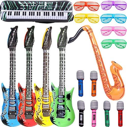ALWWL 18pcs Juguete de Instrumentos Inflable, Inflables de Juguete, 4 Guitarras, 6 Micrófonos, 6 Gafas de Sombra del Obturador, 1 Teclado de Piano, 1 Saxofon, Random Color